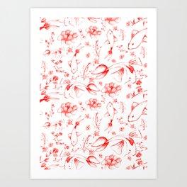 Watercolor KOI Fish in red Art Print