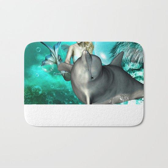 Beautiful mermaid with cute dolphin  Bath Mat
