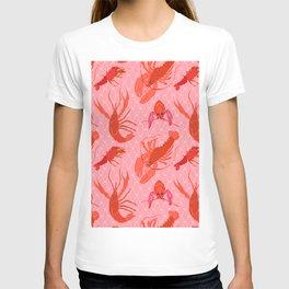 Catchin' Cajun Crawdads in Coral T-shirt