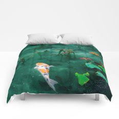 BEAUTIFUL KOI AND RAIN Comforters