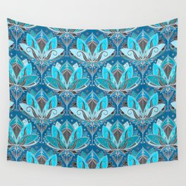Art Deco Lotus Rising - black, teal & turquoise pattern Wall Tapestry