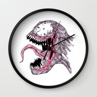 venom Wall Clocks featuring Venom by Daniel Pearson