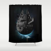 falcon Shower Curtains featuring Stealth Falcon by Michael Glass