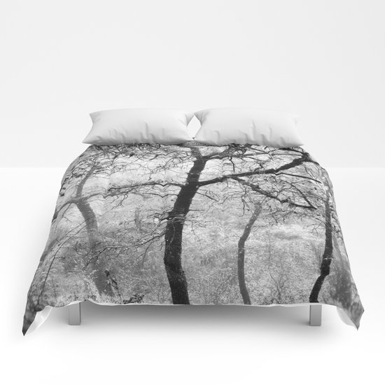 """""""Into the woods III"""". Foggy forest Comforters"""