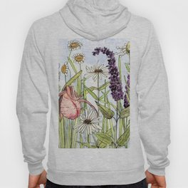 Lady Slipper Orchid Woodland Wildflower Watercolor Hoody
