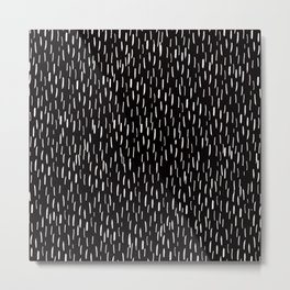 Dark Winter Night - White Strokes Lines on Black - Mix & Match with Simplicity of life Metal Print