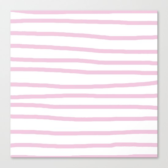 Simply Drawn Stripes in Blush Pink on White Canvas Print