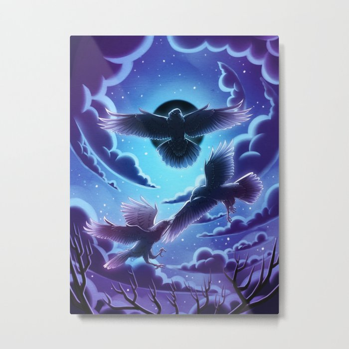Eclipse - black ravens flying in the night sky during ecipse Metal Print