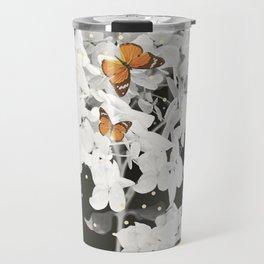 Hydrangea And Butterflies in Frame #decor #society6 Travel Mug