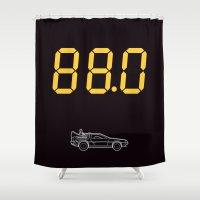 delorean Shower Curtains featuring DeLorean by Adikt