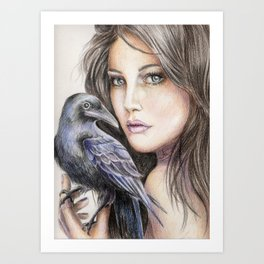 Girl with crow pencil drawing Art Print