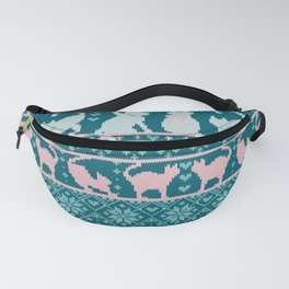 Fair Isle Knitting Cats Love // teal white and pink kitties Fanny Pack