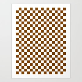 Small Checkered - White and Chocolate Brown Art Print