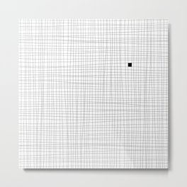 White and Black Grid - Something's missing Metal Print