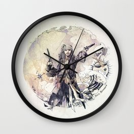 Jack Sparrow with double pistols Wall Clock