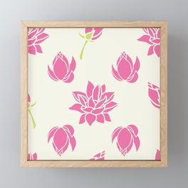 Lotus Flowers on Cream Background Framed Mini Art Print