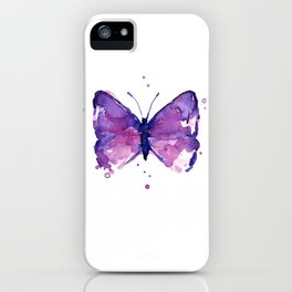 Butterfly Purple Watercolor Animal iPhone Case