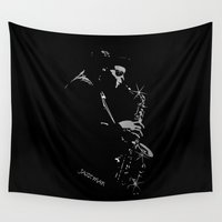 saxophone Wall Tapestries featuring Saxophone Jazz Player by OnlineGifts