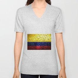 Flag of Columbia - Raindrops Unisex V-Neck