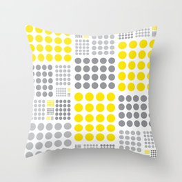 90's yellow and grey grid dots Throw Pillow