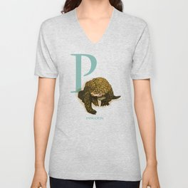P is for Pangolin: Under Appreciated Animals™ ABC nursery decor orange unusual animals Unisex V-Neck