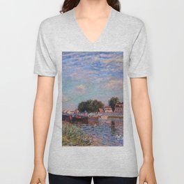 The Canal at Saint-Mammes Unisex V-Neck