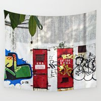 doors Wall Tapestries featuring Two Locked Doors  by Ethna Gillespie
