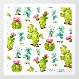 Green Cactus Watercolor Art Print