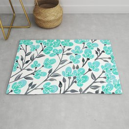 Cherry Blossoms – Turquoise & Black Palette Rug
