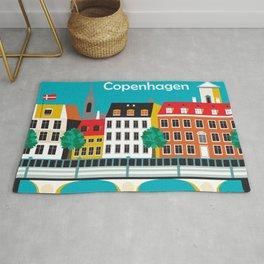 Copenhagen, Denmark - Skyline Illustration by Loose Petals Rug