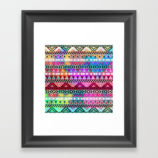 Neon Aztec | Purple Pink Neon Bright Andes Abstract Pattern Framed Art Print