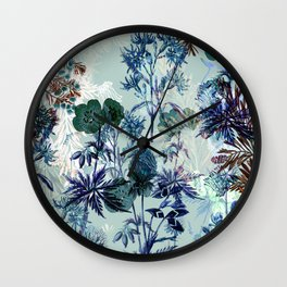 Delicate vintage botanical illustration on turquoise background- pattern Wall Clock