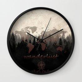 world map wanderlust forest Wall Clock