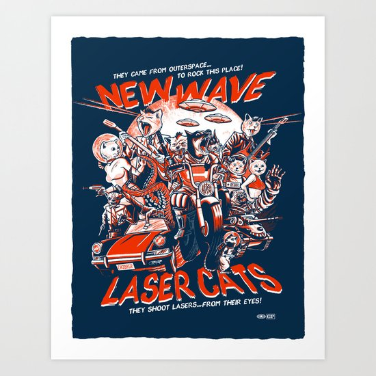 New Wave Laser Cats Art Print