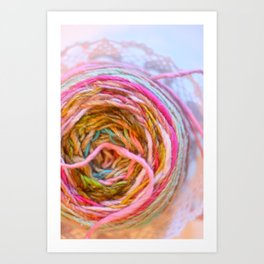 Pink Yarn in a Lace Bowl Art Print