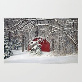 Red Barn in the Snow Rug