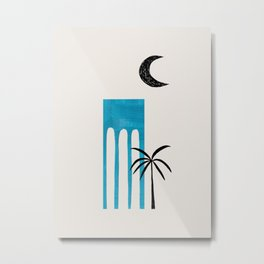 Teal Blue Ancient Ruin Minimalist Mid Century Modern Architecture Moon Lit Palm Tree by Ejaaz Haniff Metal Print