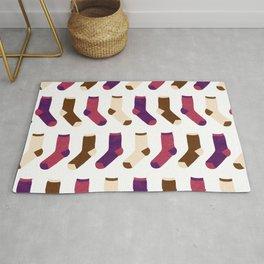 Colorful Socks Pattern - Purple & Brown Rug