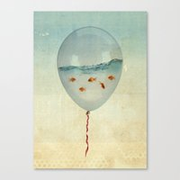 fly Canvas Prints featuring balloon fish by Vin Zzep