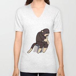 Sock Monkey Thinking Unisex V-Neck