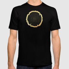 Metallic Gold Tree Ring on Black Mens Fitted Tee Black MEDIUM