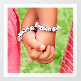 Big Sis & Lil Sis Holding Hands Art Print