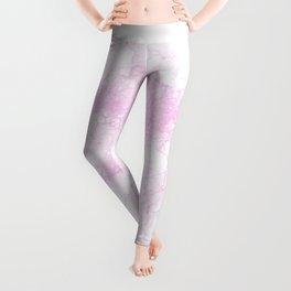 Modern abstract elegant lilac white marble pattern Leggings