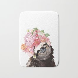 Sloth with Flowers Crown in White Bath Mat