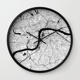 London Black and White Map Wall Clock