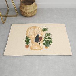 Hidden cat 51c private forest reading area rattan chair - cream Rug