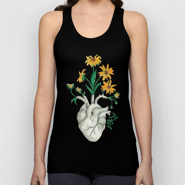 Floral Heart: Sunflower Human Anatomy Unisex Tank Top