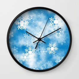 Christmas Elements Blue White Snowflakes Design Pattern Wall Clock