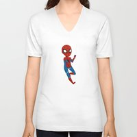 spider man V-neck T-shirts featuring Spider-Man by Nozubozu