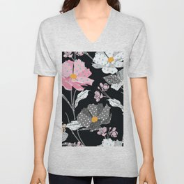 Paper Flowers in Pink Black and White Unisex V-Neck